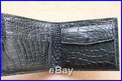 Double Side Handmade Black Genuine Crocodile Leather Skin MEN'S Bifold Wallet