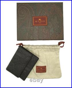 Etro Mens Black Paisley Card Holder Flap Wallet With Blue Leather Lining $215
