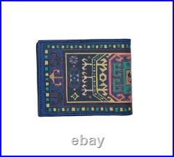 Etro Mens Leather Bi Fold Wallet With Abstract Paisley Carpet Print $350