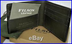 Filson BI-FOLD WALLET Moss GREEN Bridle LEATHER 70399 AUTHENTIC Made in USA New