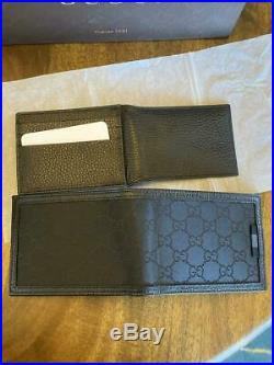 GUCCI 333042 Men's Black Leather & Canvas wallet removable card ID holder NWT
