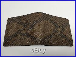 GUCCI Men Exotic Brown Snake Leather Bi-fold Wallet ITALY 100% AUTH