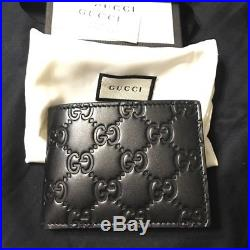 GUCCI Men's Half Wallet 233155 CWC1R 1000 Black Color Made in Italy Authentic