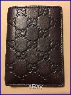 GUCCI Men's classic soft brown guccissima leather card case Made in ITALY