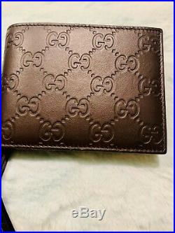 GUCCI Mens BROWN Leather GUCCISSIMA Bi-fold COIN POUCH wallet NIB Authentic $420
