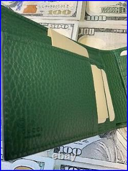 GUCCI Mens Wallet Black And Green With ID Slot Window Limited Edition