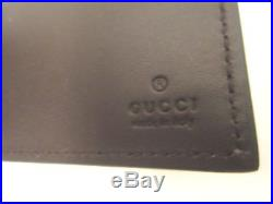 GUCCI Mens beige GG SUPREME Canvas BROWN Leather TAB bifold-wallet NIB Authentic