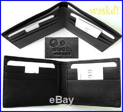 GUCCI Mens black Leather MICRO GUCCISSIMA GG embossed Bifold wallet NIB Authentc