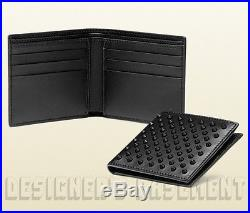 GUCCI Mens black Leather with large Black rubber STUDS Bifold wallet NIB Authent
