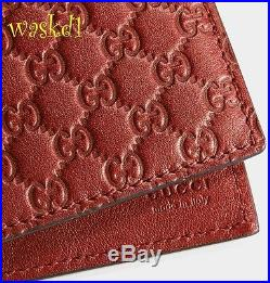 GUCCI Mens deep RED Leather MICRO GUCCISSIMA GG Bifold wallet NIB Authentic $345