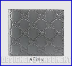 GUCCI Mens steel Gray leather GUCCISSIMA embossed Bifold wallet NIB Authent $350