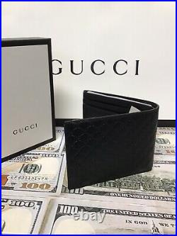 GUCCI black Leather Mens Wallet GG sold Out