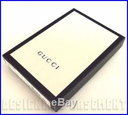 GUCCI black rubberized GUCCISSIMA Web detail Bifold COIN POUCH wallet NIB Authen