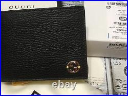GUCCI mens Wallet Black And Yellow With Window ID Slot Special Production NEW