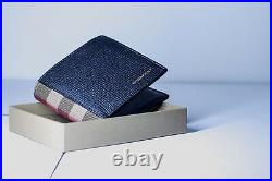 Genuine Burberry Grainy Leather and House Check Bifold Mens Wallet Black RPP360$