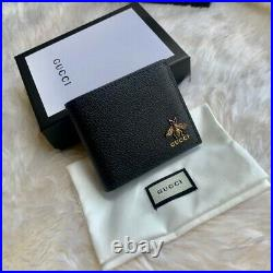 Gucci Animalier Black Leather Wallet Bee Marmont Detail Bifold Purse For men