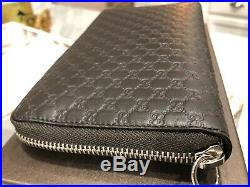 Gucci Guccisima Micro GG Lg. Leather Zip Around Travel Wallet Clutch Purse $695