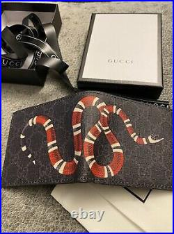 Gucci King Snake Bifold Wallet GG Supreme Mens Authentic Mint