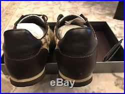 Gucci Men's Brown Nylon/Leather GG Sneakers Size 9.5G # 202744 With GG Wallet