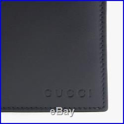 Gucci Men's Dark Blue Leather Bifold Wallet with Coin Pocket 393534 4009