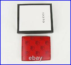 Gucci Men's Red Leather Bifold Wallet with GG Hamlet Skull Print 449422 8969 W