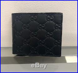 Gucci Men's Wallet GG Guccissima card holder Blue Leather Made iIn Italy 145754