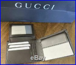 Gucci Mens 367287 Brown Micro GG Leather Bifold Wallet Coin pocket ID window