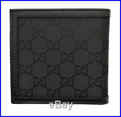 Gucci Mens Black Canvas And Leather GG Bi Fold Wallet