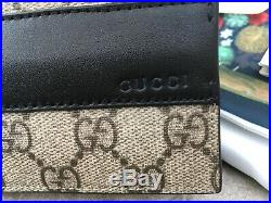 Gucci Mens Classic Wallet Leather Gold GG Logo Authentic