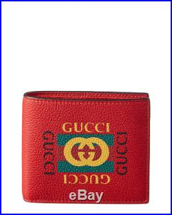 Gucci Mens Logo Print Leather Bifold Coin Wallet, Red