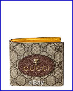 a70d3840228a Gucci Mens Neo Vintage Gg Supreme Canvas & Leather Wallet, Brown