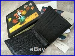 Gucci Mens Wallet Purse Animalier Leather Wallet Gold Bee Logo 100% Authentic