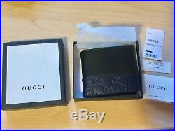 Gucci Signature Men's Navy Blue & Black Leather Bi-fold Wallet With Box