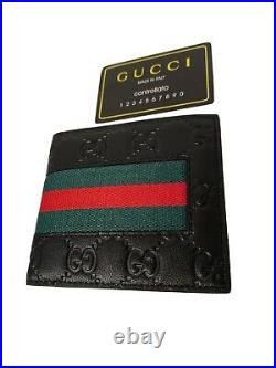 Gucci Signature Web Wallet For Men 100% Authentic Pre-Owned Mint Condition
