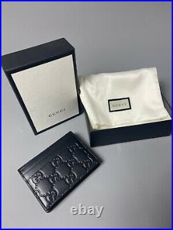 Gucci Wallet Mens Black Leather 100% Genuine Designer. Classic Style