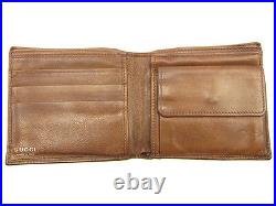 Gucci Wallet Purse Bifold Logo Brown Mens Authentic Used T127