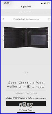 Gucci signature web mens wallet With ID WINDOW RRP £320 LARGE STYLE