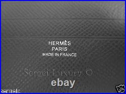 HANDSOME New Authentic HERMES MC2 Mens Wallet Coppernic Graphite Grey Leather