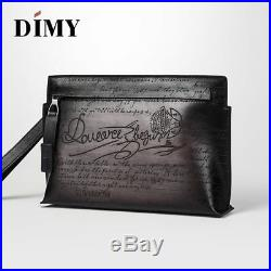 Handmade Dimy Men Berluti Style Patina Genuine Leather Carving Clutch Wallet