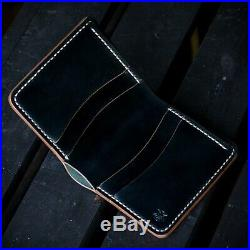 Horween Shell Cordovan leather mens black brown bifold wallet