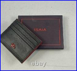 Isaia Napoli Mens Card Holder Wallet- Black Authentic Branded