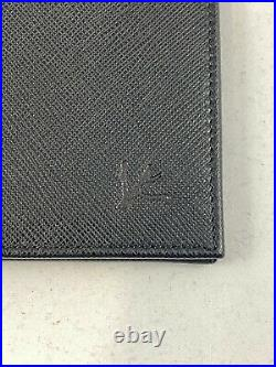 Isaia Napoli Mens Leather Card Holder Wallet- Black Authentic Branded