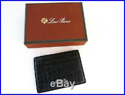 LORO PIANA Navy Blue Crocodile Alligator Leather ID Credit Card Holder Wallet
