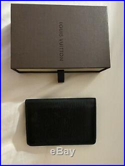 LOUIS VUITTON POCKET ORGANIZER EPI LEATHER BLACK-USED. Includes Orig Box