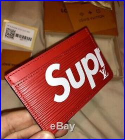 LOUIS VUITTON x SUPREME RED CARD HOLDER PORTE CARTE SIMPLE M67712 BRAND NEW