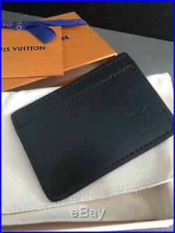 Louis Vuitton 100% Authentic LV Black Leather CARD HOLDER NEW! Rare VIP Item