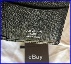 Louis Vuitton Black Tiaga Leather Pocket Organizer Wallet Silver Stamp Supreme X