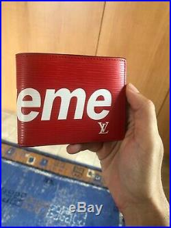 Louis Vuitton X Supreme LV Red EPI Leather Slender Wallet