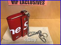 Louis Vuitton X Supreme Leather Chain Wallet Epi Leather Red M67755 RARE
