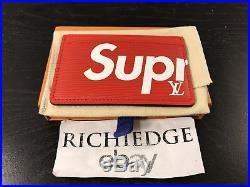 Louis Vuitton X Supreme Red EPI Leather CARD HOLDER 100% AUTHENTIC